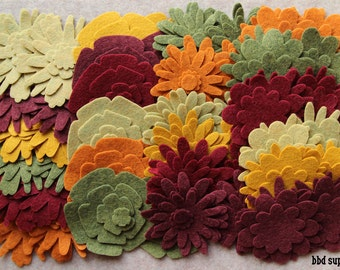 Autumn Harvest - Flower Power Pack - 180 Die Cut Wool Blend Felt Flowers