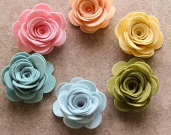 Wool Dream - XLarge 3D Rolled Roses - 6 Die Cut Wool Blend Felt Flowers - Unassembled Rosettes