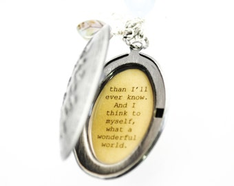 What a Wonderful World - Song Quote Locket - Women's Locket - Mother's Day Gift, Mother of the Bride, Mother of the Groom