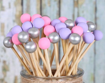 Pink, Purple & Silver Lollipop Sticks, Cake Pops Sticks, Marshmallow Pop Sticks, Rock Candy Sticks, Wooden Sticks, Princess Party (12)