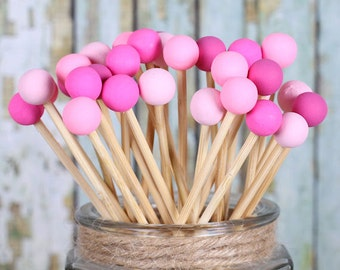 Pink Ombre Lollipop Sticks, Pink Cake Pops Sticks, Painted Rock Candy Sticks, Pink Pop Sticks, Wooden Sticks, Dessert Skewers (12)