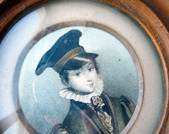 Young Dandy Portrait in Small, Round Antique Frame