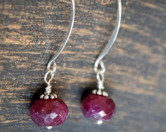 Ruby Dangle Earrings, Rough Cut Ruby Earrings, July Birthstone Earrings