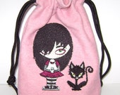Cutely Evil Kitty and Goth Girl on Pink Denim Drawstring Pouch - Tarot, Oracle, Runes, Gaming Dice, Anything