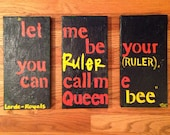 HALF OFF Lorde Lyrics // Royals // on Canvas, Hand-painted, One of a Kind, Abstract, Green yellow and orange