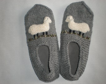 Grey slippers - Sheep slippers - Woolen slippers - Grey slippers - Grey socks - Fury sheep - Grey sheep socks - Warm winter slippers