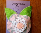 pale pink fabric flower clip