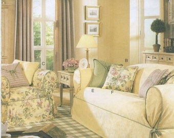 Chair & Sofa Covers, Pillow, Drapes Sewing Pattern Butterick 3877, Uncut, Ottoman, Loveseat Covers