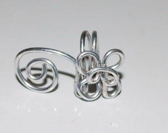 Silver Swirls Aluminum Ear Cuff - Pierceless Wire Wrapped Jewelry