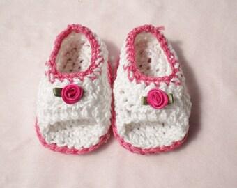 Crocheted Sandals Baby Girl Newborn 0 3 mo Summer Cotton
