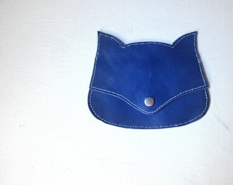 Blue  laether  Fox pouch, fox coin purse, wallet