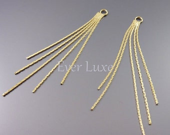 2 snake chain tassel charms, gold dangles for earrings, necklace pendants / jewelry craft supplies findings 1755-BG (bright gold, 2 pieces)
