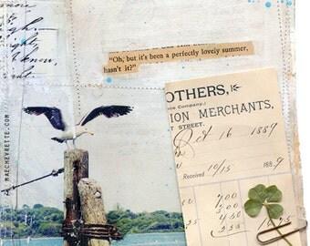 "Day 18 - 11""x14"" paper print - nautical beach mixed media art"