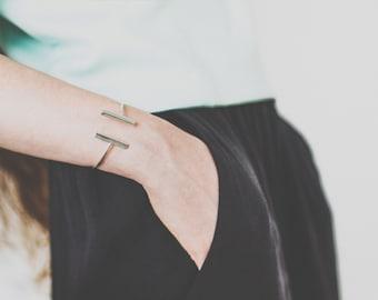 Sterling silver adjustable twin bar bracelet