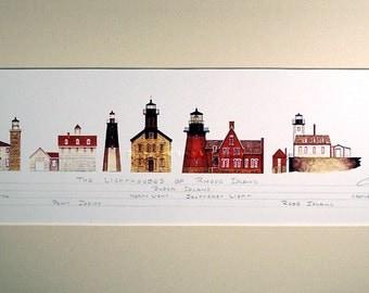 """Lighthouses Rhode Island Art Signed Robert Kline 10"""" x 20"""" Matted Print Watch Hill Point Judith Rose Island Beach House Nautical Home Decor"""