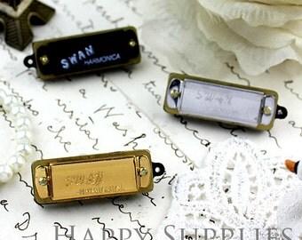 12 Mini Vintage Style Harmonica Pendants