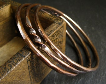 Copper bangle bracelets, stacking bangles, twisted copper, hammered copper bracelets, copper wedding anniversary gift, metalwork jewelry