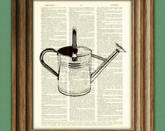 Watering Can beautifully upcycled vintage dictionary page book art print 8.5 x 11