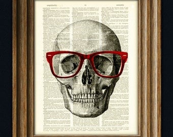 Skull with Red Hipster Glasses over an upcycled dictionary page book art print