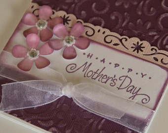 Mothers Day Card Embossed Daisies and Flowers, Happy Mother's Day Card, Card for Mom, Mom's Special Day, Mum (MD1421)