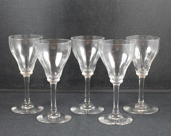 Set of 5 Vintage Clear Glass Cordial Glasses
