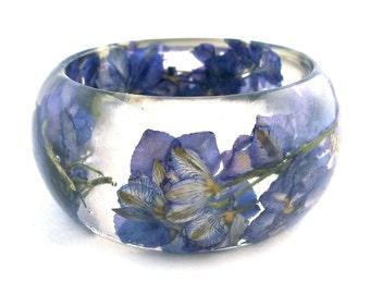 Size Small Purple Botanical Resin Bangle. Bangle Bracelet.  Pressed Flower Resin Cuff.  Real Flowers - Purple Larkspur.  Engraved
