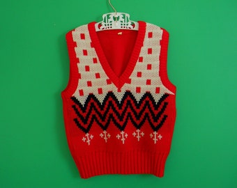 Vintage Children's Zig Zag Sweater Vest - Size 3T