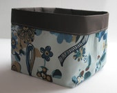 Crushable Fabric Home Decor Storage Box In Blue and Brown Birds in the Woods