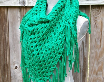 Crochet Shawl Triangle Scarf in Bright Green Hand Crocheted