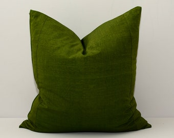 20x20 green ikat pillow cover, green, ikat, pillow, cover, handmade hand dyed ikat fabric - NOT PRINTED fabric