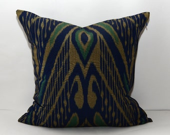 20x20, ikat pillow cover, home decor, auhentic ikat fabric, ikat cushion, dark blue
