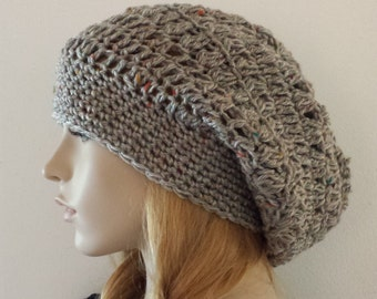 Slouchy Hat Gray, Beanie Hat, Fashion Hat, Tam Beret Slouchy HAT, Gift Cozy Hat, CHEMO Cozy Hat, All Seasons Slouchy Beret Hat Ready to ship