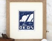 Hand Printed Sailing Linocut Print