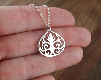 Scroll leaf pendant necklace in sterling silver, curls, sterling silver scroll, sterling silver necklace, tribal pendant, scrollwork