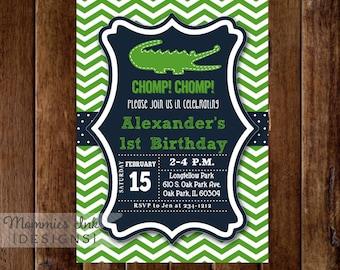 Alligator Invitation, Alligator Birthday Party, Gator Party, Boy Birthday, 1st Birthday, Alligator Party, Chevron Invitation, Preppy Invite