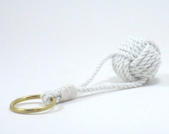 Nautical Keyring Traditional Monkey Fist Key Chain with Split Ring Mens Gift Idea