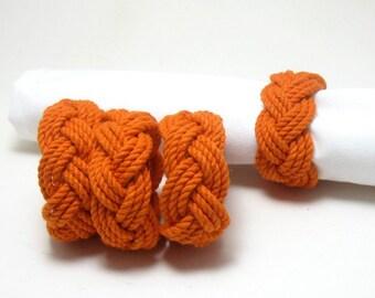 Woven Napkin Rings Nautical Orange Cotton Pack of 4