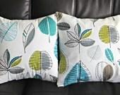 Cushions teal blue lime green gray grey maple leaf design Decorative pillow shams UK designer fabric Two 18 x 18 inch handmade