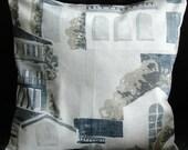 Pillow Spain Spanish villas 18 inch cushion cover blue white gray grey palm trees Spanish town