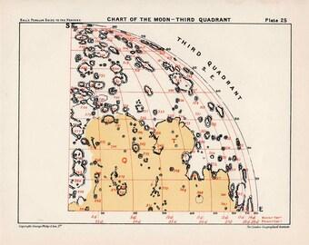 1955 MOON QUADRANT 3 - original vintage print - astronomy celestial lunar landscape chart - crater & maria - third quadrant