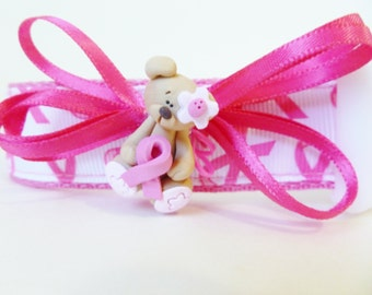 Therapy Dog Collar  -  Pink Ribbon Breast Awareness