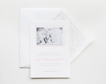 Personalised Calligraphy Letterpress Birth announcements, sample