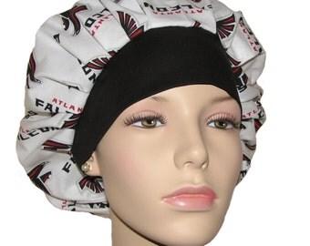 Scrub Hats - Atlanta Falcons Fabric With Black Headband