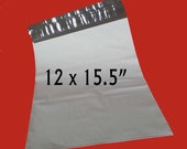 "25 Large White Poly Mailers. Non-Fragile Use Only. 12"" x 15.5"" Polyethylene Envelopes. 4891"