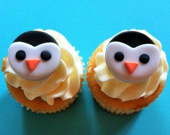 36 Fondant Penguin cupcake toppers