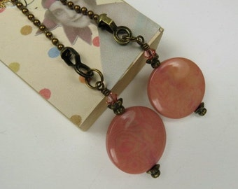 Decorative Chain Pull Pair for Ceiling Fans or Lamps with Salmon Pink Tagua Nut Beads