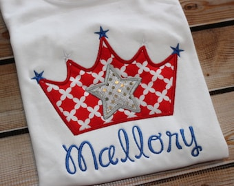 Personalized July 4th Red and Blue Princess Crown Shirt