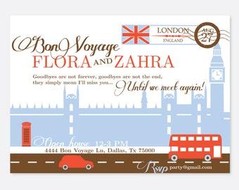 Bon Voyage Invitation, Travel Invitation, London Invitation, Engagement Invitation, Dinner Party Invitation, Going Away Party Invitation