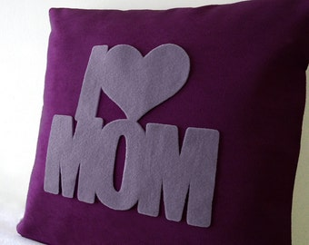 I Love Mom Plum And Grey Pillow Cover. New Mum Mothers Gift. Nursery Decor. Color Choice