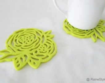 Spring Rose Lime Green Felt Coasters Set. Set Of Six. Floral Coasters. Color Choice Available